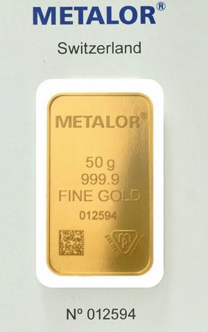 Lingot 50g d'or 999,9 Metalor scellé certification